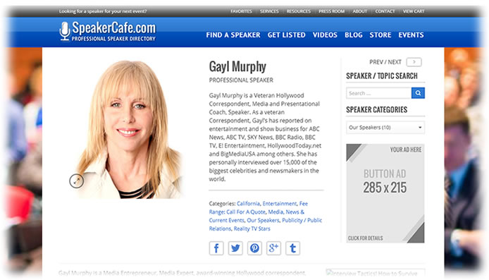 Click on this image to go to Gayl's Speaker Profile!